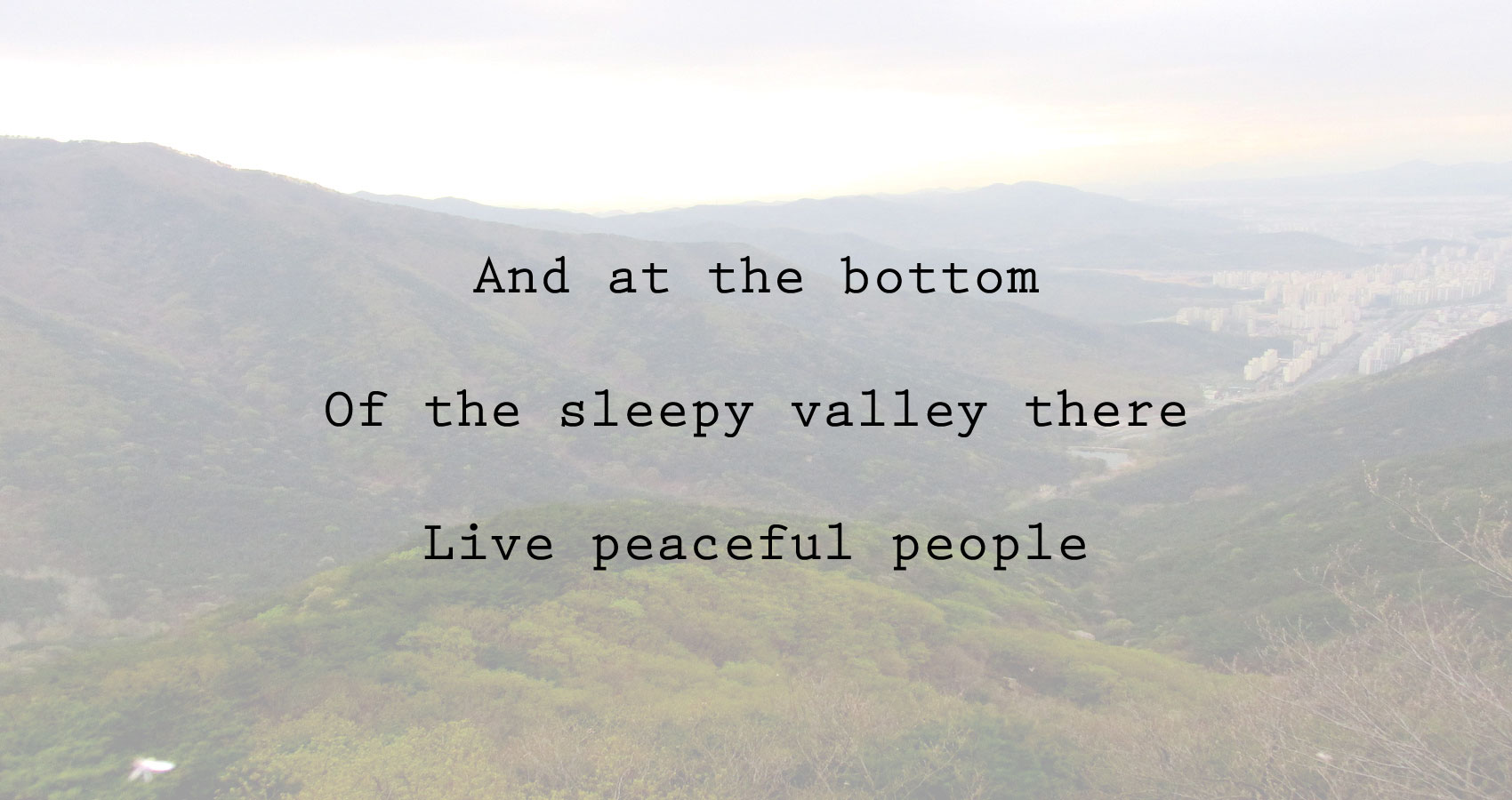 Sleepy Valley, by Ian Michael, at Spillwords.com